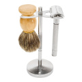 Deluxe Stainless Steel 4 Prongs Safety Razor and Shave Brush Shave Stand