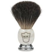 Parker Safety Razor 100% Premium Black Badger Bristle Shaving Brush with Ivory Marbled Handle & Free Stand
