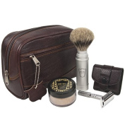 Parker Travel Shave Kit - Includes Parker Safety Razor's Dopp Bag, Travel Safety Razor, Travel Shave Brush and Travel Shave Soap