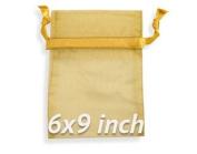 ZXUY 60 Pcs Sheer Organza Drawstring Pouches Gift Bags Gold Colour 15cm x 23cm