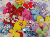 50pcs Mix Different Styles in Different Colours Padded Felt Flower Appliques