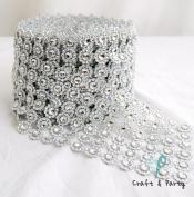 Silver Diamond Flower Shape Mesh Wrap Roll Faux Rhinestone Crystal Ribbon 10cm x 10 yards