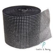 Black with Silver Diamond Mesh Wrap Roll Rhinestone Crystal Ribbon 13cm x 10 yards
