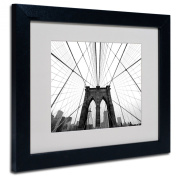 Trademark Fine Art NYC Brooklyn Bridge Artwork by Nina Papiorek in Black Frame, 28cm by 36cm