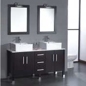 "150cm Wood & Porcelain Double Vessel Sink Bathroom Vanity Set- ""Dunklin"""