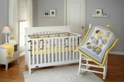 Little Bedding by NoJo Elephant Time 4-Piece Crib Bedding Set, Yellow.
