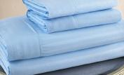 Queen Size Light Blue 300 Thread Count 100% Cotton Sateen Dobby Stripe Sheet Set