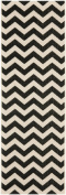 Safavieh CY6244-256 Courtyard Collection Indoor/Outdoor Area Runner, 0.6m by 2.4m, Black and Beige