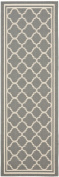 Safavieh CY6918-246 Courtyard Collection Indoor/Outdoor Area Runner, 0.6m by 3.7m, Anthracite and Beige