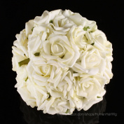 20pcs Bridal Wedding Bouquets Artificial Flower KC108 Cream Ivory Head Latex Real Touch Bling Rose Flowers DIY