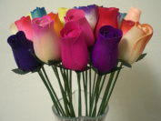 2 Dozen 24 Mixed Colour Bouquet of Wooden Rose Buds Artificial Flower