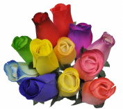 2 Dozen (24) Wooden Roses Colourful Arrangement in Sleeve