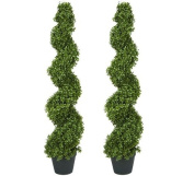 TWO Pre-potted 1.2m Spiral Boxwood Artificial Topiary Trees. In Plastic Pot