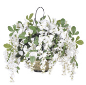 House of Silk Flowers Artificial Wisteria Hanging Basket, White