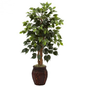 Nearly Natural 5929 110cm Ficus Tree with Decorative Planter, Green