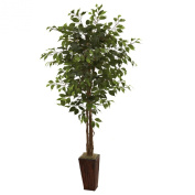 Nearly Natural 5931 1.8m Ficus Tree with Bamboo Planter, Green