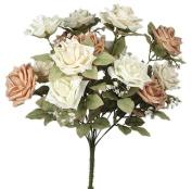 48cm Silk Roses Wedding Bouquet Cream/Beige 037