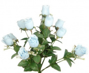 43cm Elegant Raindrop Rose Bush Silk Flowers Wedding Bouquet Baby Blue 989