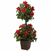 Nearly Natural 6726 Hibiscus Topiary, 100cm , Red/Green