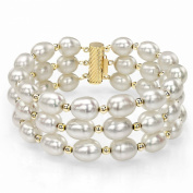 """14k Yellow Gold 8-9mm White Cultured Freshwater Pearl 3 Rows Bracelet 7.25"""" with 3mm 14k Yellow Gold Bead"""