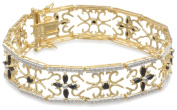 Yellow Gold Plated Sterling Silver Sapphire and Diamond Accent Flower Bracelet, 19cm