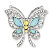Sterling Silver Blue Opal with Yellow and Clear CZ Butterfly Pin. Metal Wt- 13g