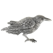 Sterling Silver Raven Crow Brooch Pin Corvid Bird Totem Jewellery