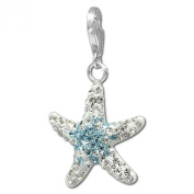 SilberDream Glitter Charm Swarowski Elements big starfish white and light blue, 925 Sterling Silver Charms Pendant with Lobster Clasp for Charms Bracelet, Necklace or Earring GSC309