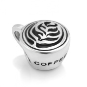925 Sterling Silver Coffee Cup with Classic Rosetta (Leaf) Latte Art Bead Charm Fits Pandora Bracelet