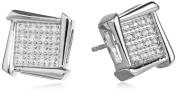 Sterling Silver and Diamond Geometric Stud Earrings
