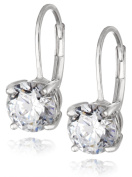 Plated Sterling Silver Round-Cut Zirconia Leverback Earrings
