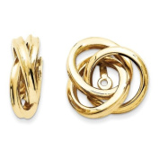 14k Yellow Gold Polished Love Knot Earrings Jackets. Metal Wt- 1.73g