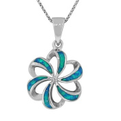 Sterling Silver Blue Turquoise Fire Opal Flower Womens Pendant Necklace Chain