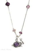 Sterling Silver Amethyst Rabbit Necklace