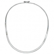 """2mm Wide .925 Italian Sterling Silver OVAL """"C"""" Curve Collar Choker Neckwire Necklace w/ Back Hook-Latched **includes (1) FREE Silver Polishing & Cleaning Cloth**"""
