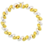 Sterling Silver Small San Marco Bracelets and Necklaces Two-tone gold finish Italian