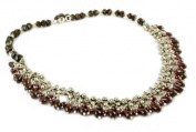 Garnet waterfall necklace, 'Mughal Regent' - Sterling Silver and Garnet Necklace from Indian Jewellery