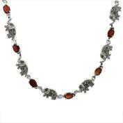 Sterling Silver Cubic Zirconia Garnet Elephant Marcasite Necklace, 41cm long