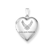 Sterling Silver Air Force Heart Locket 1.9cm X 1.9cm