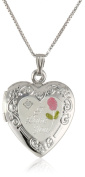 "Sterling Silver Diamond Engraved with ""I Love You"" Heart Locket Necklace, 46cm"