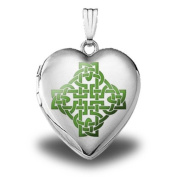 "Sterling Silver ""Colour Celtic Knot"" Heart Locket 1.9cm X 1.9cm"