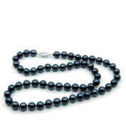 14k White Gold 7.0-7.5mm Japanese Akoya Black Cultured Pearl Necklace AAA Quality, 18 Inch Princess Length