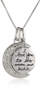 "Sterling Silver ""I Love You to The Moon and Back"" Diamond (0.08cttw, I-J Colour, I2-I3 Clarity) Accent Moon Pendant Necklace, 46cm"