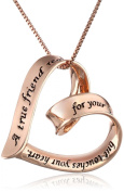 "Sterling Silver ""A True Friend Reaches For Your Hand But Touches Your Heart"" Ribbon Heart Pendant Necklace"