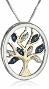 Sterling Silver and 14k Yellow Gold Diamond Accent Family Tree Pendant Necklace,46cm