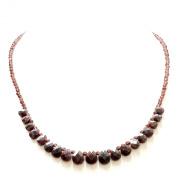 .925 Sterling Silver Garnet Drop Beads Necklace