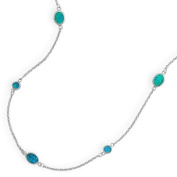 Blue Opal Necklace with Round and Oval Stones Rhodium on Sterling Silver - Nontarnish