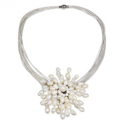 Royal Chrysanthemum White Pearl 2 In 1 Pin and Necklace