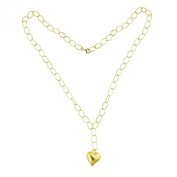 Italian 14K Gold Heart Drop Necklace 60cm
