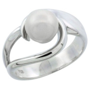 Sterling Silver Loop Pearl Ring 1/2 in. (12mm) wide (Available in Sizes 5 to 10), size 9